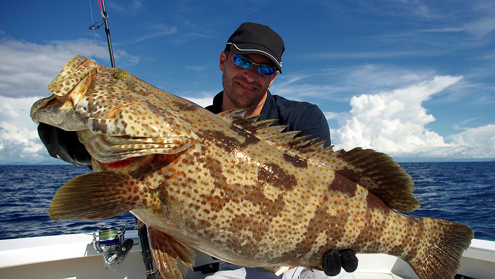 Man on boat holding large caught grouper
